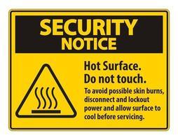 surface chaude ne pas toucher pour éviter d'éventuelles brûlures cutanées débrancher et verrouiller l'alimentation et laisser la surface refroidir avant l'entretien symbole vecteur