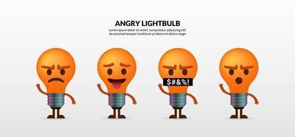 ensemble de personnages mignons ampoule en colère sur fond blanc vecteur