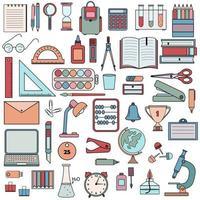 ensemble de couleurs de fournitures de bureau et de bureau vecteur
