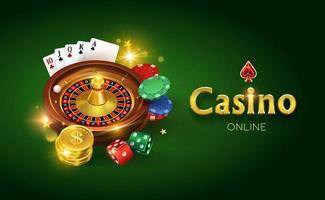 casino sur fond vert, dés, pièces d'or, cartes, roulette et jetons vector illustration