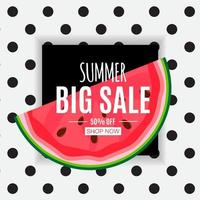 fond abstrait de vente d'été avec pastèque vecteur