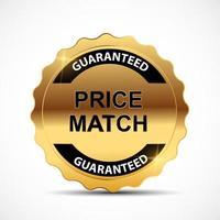 modèle de signe d & # 39; étiquette en or garantie de correspondance de prix vecteur