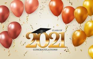 promotion de 2021 avec chapeau de graduation et confettis vecteur