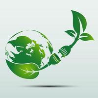La prise d'alimentation du concept de terre verte laisse l'emblème ou le logo de l'écologie vecteur