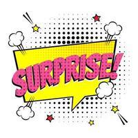 bulle de dialogue de lettrage comique pour émotion avec texte surprise style bande dessinée design plat illustration de pop art dynamique isolée sur fond de rayons verts symbole de concept de surprise de voix exclamation vecteur