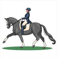 équitation, femme, équitation, cheval dressage, dans, dessin animé, style vecteur