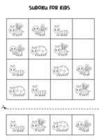 jeu de sudoku pour enfants avec de jolis insectes noirs et blancs vecteur