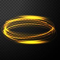 Effet de lumière dorée transparent brillant Abstrac avec vague de cercle vecteur