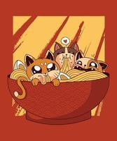 ramen chats nouilles japonaises parfaites pour les t-shirts vecteur