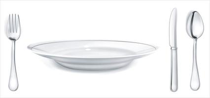 Assiette vide fourchette couteau cuillère couverts isolé sur fond blanc chemin de détourage vue de dessus vecteur illustrateur 10
