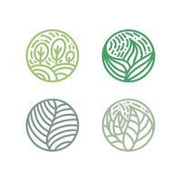 ensemble de logo de feuilles vertes de plantes tropicales. emblème bio rond dans un style linéaire de cercle. insigne abstrait de vecteur pour la conception de produits naturels, fleuriste, cosmétiques, concepts écologiques, santé, spa, centre de yoga