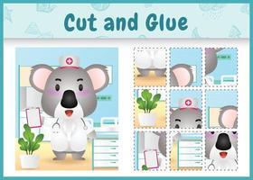 Jeu de société pour enfants découpé et collé avec un koala mignon utilisant des infirmières en costume vecteur