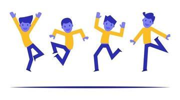 Groupe de jeunes gens joyeux sautant et dansant avec les mains levées vecteur