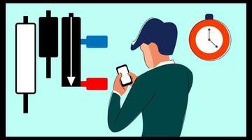 trader utilise une application de trading d'actions forex vecteur