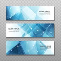 Bannières bleues modernes vecteur