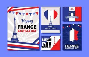 collection de cartes de fête de la bastille vecteur