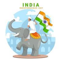 Man riding elephant célèbre la fête de l'indépendance de l'Inde vecteur