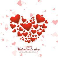 Beau coeur Saint Valentin conception de cartes vecteur