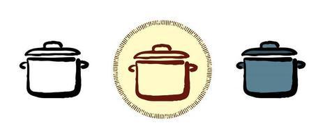 couleur du contour et symboles de casserole rétro vecteur