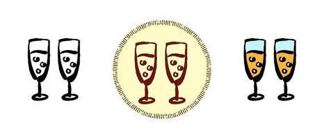 couleur du contour et symboles rétro des verres à champagne vecteur