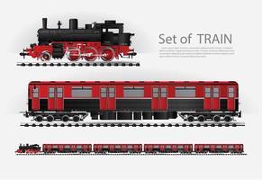 train de marchandises sur un ensemble de chemin de fer vecteur