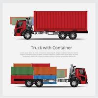 transport de camions de fret avec ensemble de conteneurs vecteur
