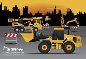 véhicules de construction sertis d & # 39; illustration vectorielle de bâtiment fond vecteur