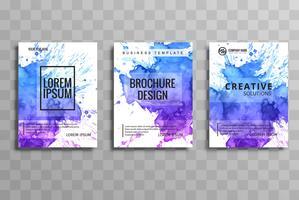 Gabarit de set aquarelle brochure vector abstraite. Disposition des prospectus d