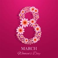 8 mars, carte décorative de la journée internationale de la femme vecteur