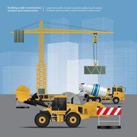 véhicules de construction sur illustration vectorielle site vecteur