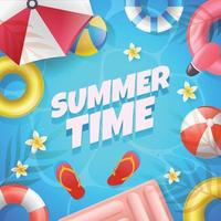 vacances d'été dans la piscine vecteur