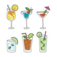 ensemble de cocktails tropicaux vecteur