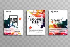 Ensemble de brochure d'entreprise aquarelle moderne de conception de vecteur de cartes