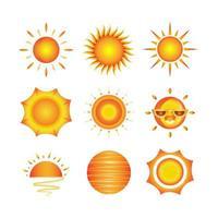 ensemble d & # 39; icônes de soleil vecteur