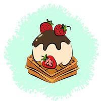 c'est une boule de glace à la vanille trempée de chocolat sur des gaufres aux fraises vecteur