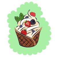 c'est un panier à gaufres avec de la glace à la vanille et de la crème fouettée et des baies avec des feuilles de menthe sur le dessus vecteur