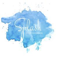 Splash bleu aquarelle belle peinture à la main sur fond blanc vecteur