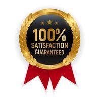 insigne de médaille d'or de qualité supérieure 100 signe de satisfaction garantie vecteur