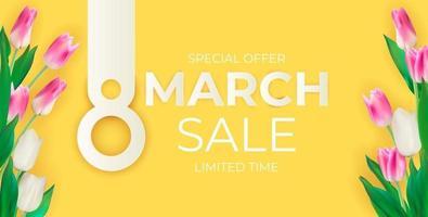 Modèle de conception de fond de bannière de vente 8 mars pour la publicité ou les annonces sur le Web ou les médias sociaux et la mode vecteur