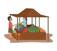 un vendeur de légumes frais et un acheteur portant un masque facial pour éviter la propagation du coronavirus sur le marché traditionnel vecteur