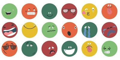 visages de bande dessinée abstraite ronds avec diverses émotions différents personnages colorés style de dessin animé émoticônes design plat ensemble visages emoji émoticône sourire expression de smiley numérique émotions sentiments chat messager émoticônes vecteur