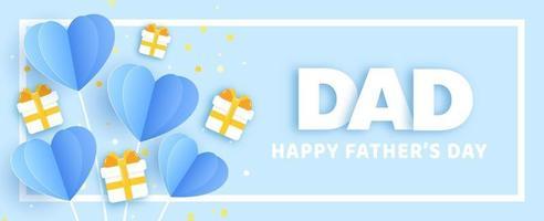bannière de fête des pères en papier découpé vecteur