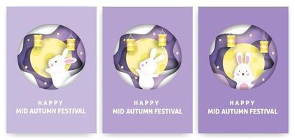 bannière et carte du festival de la mi-automne en style papercut vecteur