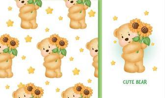 Carte de voeux d'anniversaire modèle sans couture avec ours en peluche mignon tenant un tournesol vecteur