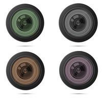 modèle de logo et carte de visite de caméra zoom objectif photo studio vecteur