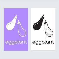 aubergine icône logo modèle silhouette en noir et blanc vecteur