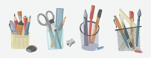organisateur de bureau pour les utilitaires. bureau de l'organisateur et fournitures scolaires design plat. matériel d'écriture stylo crayon et porte-règle vecteur