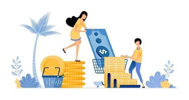 concept de budget et de dépenses vecteur