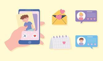 main avec application de rencontres de calendrier de message sms de chat smartphone vecteur