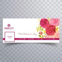 Résumé de la Saint-Valentin facebook couverture design illustration vecteur